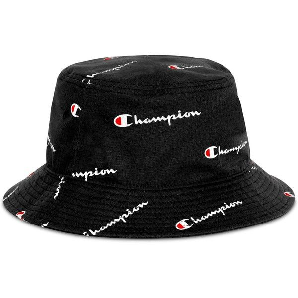 ad2bc2bb Champion Men's Logo Script Bucket Hat ($25) ❤ liked on Polyvore featuring  men's fashion, men's accessories, men's hats, black, mens fishing hats, ...