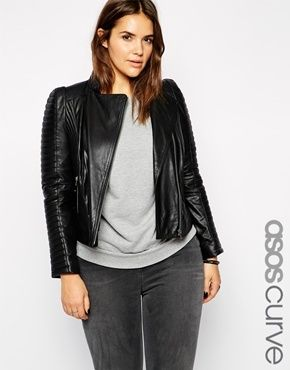 91a4ac89a205f Plus Size Leather Jacket - ASOS CURVE Exclusive Premium Leather Biker Jacket  - Black