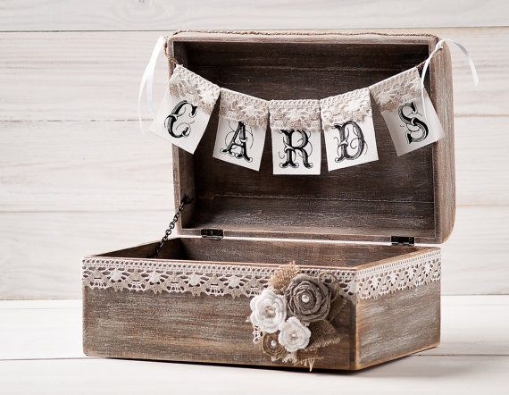 rustic wedding card box holder with burlap and lace cards banner wooden chest shabby chic flowers wedding sign