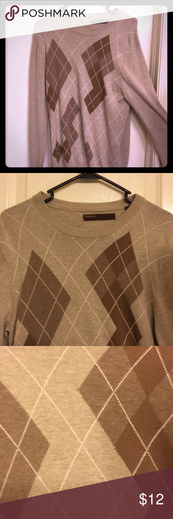 Men's argyle sweater Men's Perry Ellis argyle sweater ! Lightly ...