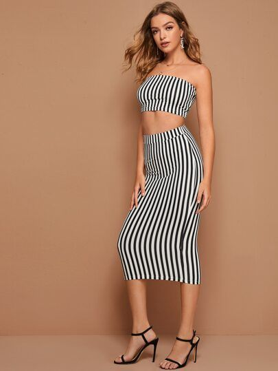Striped Tube Top & Pencil Skirt Set #tubetopoutfits Striped Tube Top & Pencil Skirt Set #striped #tube #top #pencil #skirt #set #two-piece #outfits #shein #tubetopoutfits