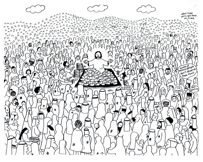 Matthew Mark Luke John Jesus Has Power To Provide Feeds The Coloring Page