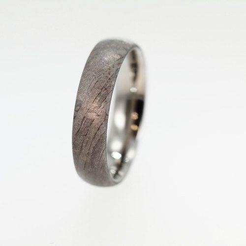Meteorite Ring Over Anium Band Brenham Masculine Mens Wedding 576 00 Via Etsy