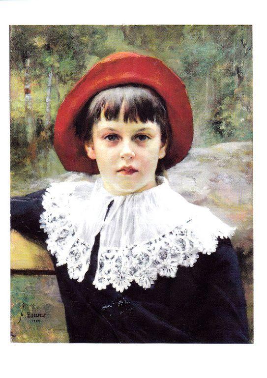 Kuva albumissa ALBERT EDELFELT - Google Kuvat. Taiteilijan sisaren Berta Edelfeltin muotokuva 1884. Ateneumin taidemuseo.