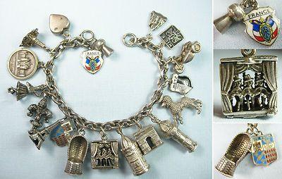 France, Paris, Lido, Metz/ Can-Can Dancers MOVE/Vintage Silver Charm Bracelet $405
