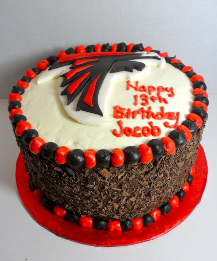 Atlanta Falcons Birthday Cake With Chocolate Shaving Sides Cake Art Design's By Marie