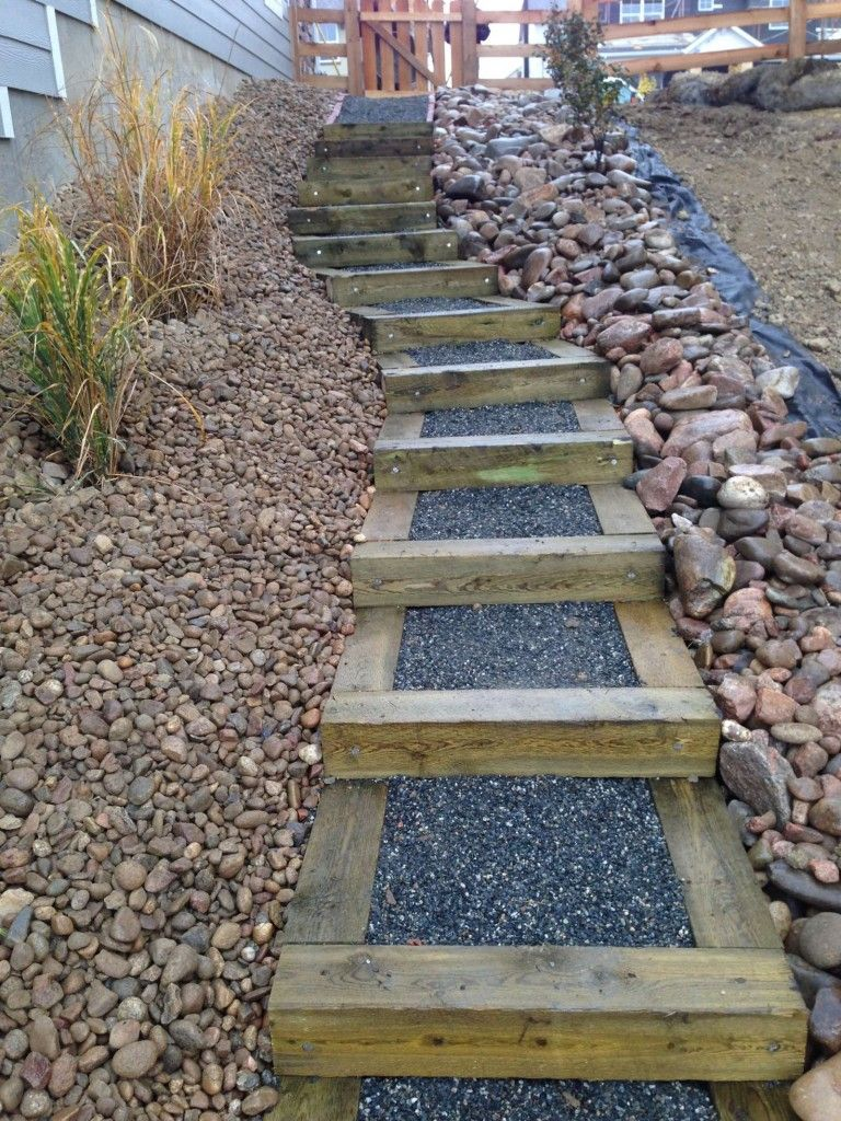 Captivating Building Steps On A Steep Slope | Timber Stairs On Steep Side Yard Slope  New Construction