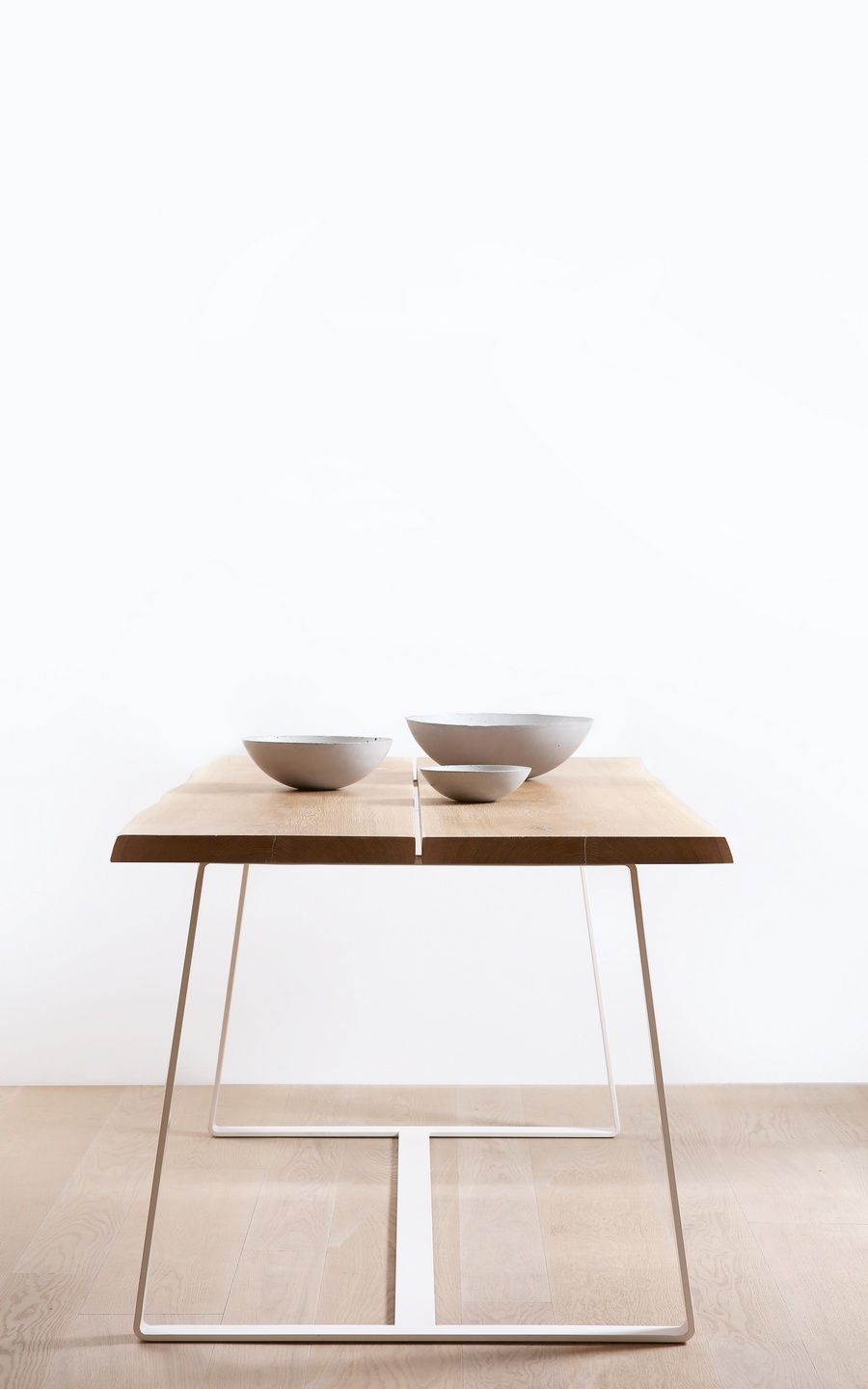 Solid Oak Table With White Steel Legs