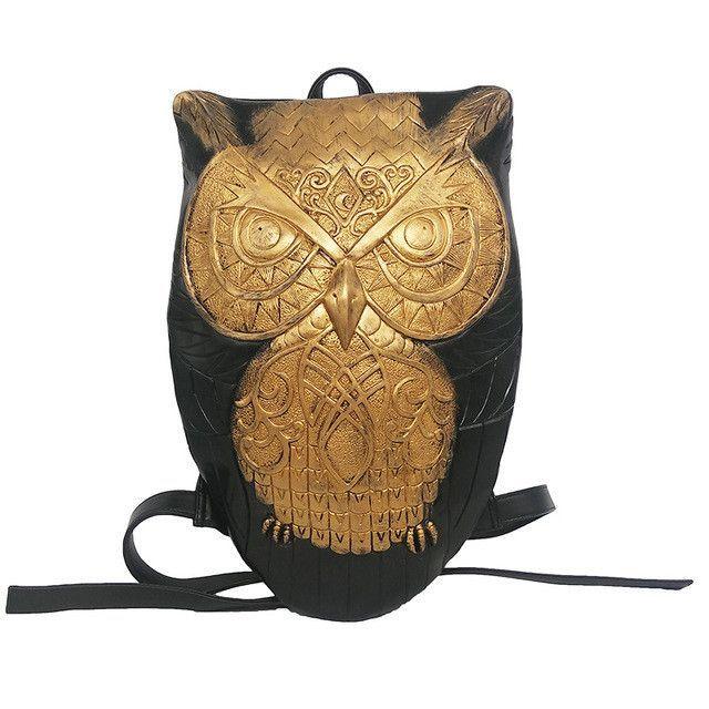 Black Leather Owl Backpack