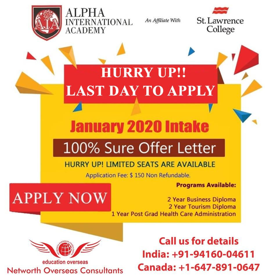 Study in CANADA! Last Day to apply for January 2020 Intake