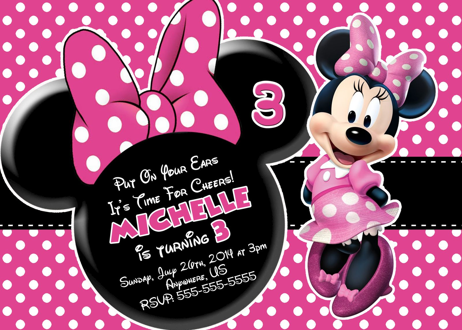 Minnie Mouse Printable Birthday Invitations Minnie Mouse Invitations Minnie Invitations Minnie Mouse Birthday Invitations