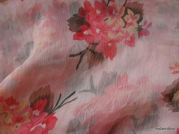 Floral Print Pastel Crinkled Silk Chiffon Fabric by theDelhiStore