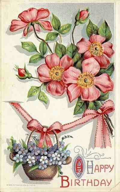 Beautiful Vintage Looking Birthday Postcard