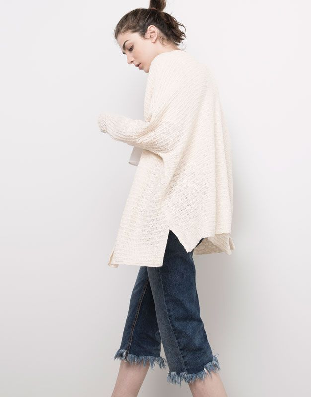 :KNIT CARDIGAN WITH BATWING SLEEVES