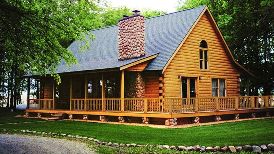 2 Stories The Madison Has 1762 Sq Ft Well Appointed Fireplace Area 3 Beds 2 Baths Wrap Around Porch Dec Log Home Designs Log Cabin Floor Plans Cabin Homes