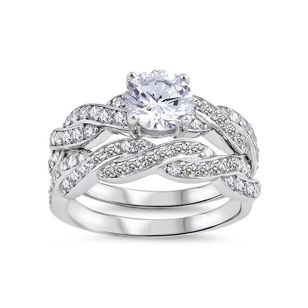 Fancy Wedding Engagement Bridal Set Ring Band Twisted Braided Design Round Cz 925 Sterling Silver Bridal Ring Sets Wedding Ring Sets Cz Wedding Rings