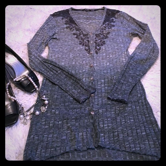 "Miss Me ombré cardigan, Size M Super cute gray ombré Miss Me cardigan with black lace detailing around shoulder and chest areas.  Note: As shown in picture, the sleeves and bottom of the cardigan have that ""cut"" appearance. Miss Me Sweaters Cardigans"