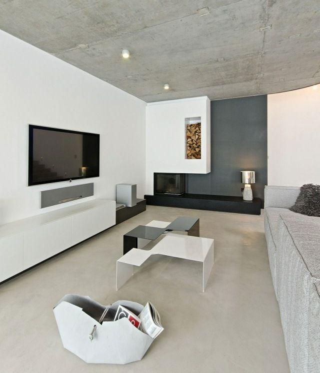 Elegant Moderne Wohnung Einrichten Schwarzer Kamin Beistelltisch Fernsehschrank