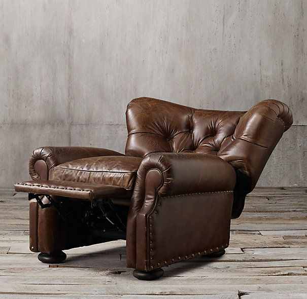 Chesterfield Sofa Churchill Leather Recliner with Nailheads Restoration Hardware Color Glove ea