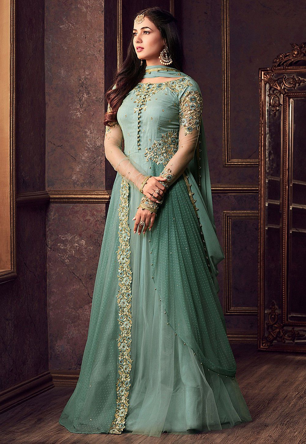 Best wedding dresses jeddah  Buy Embroidered Net Abaya Style Suit in Green online Item code