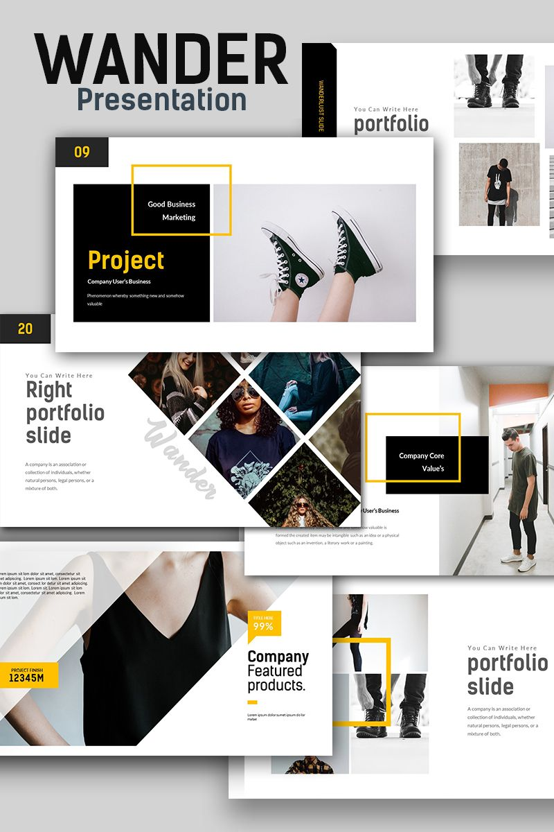 Wander Creative Presentation Powerpoint Template 67594