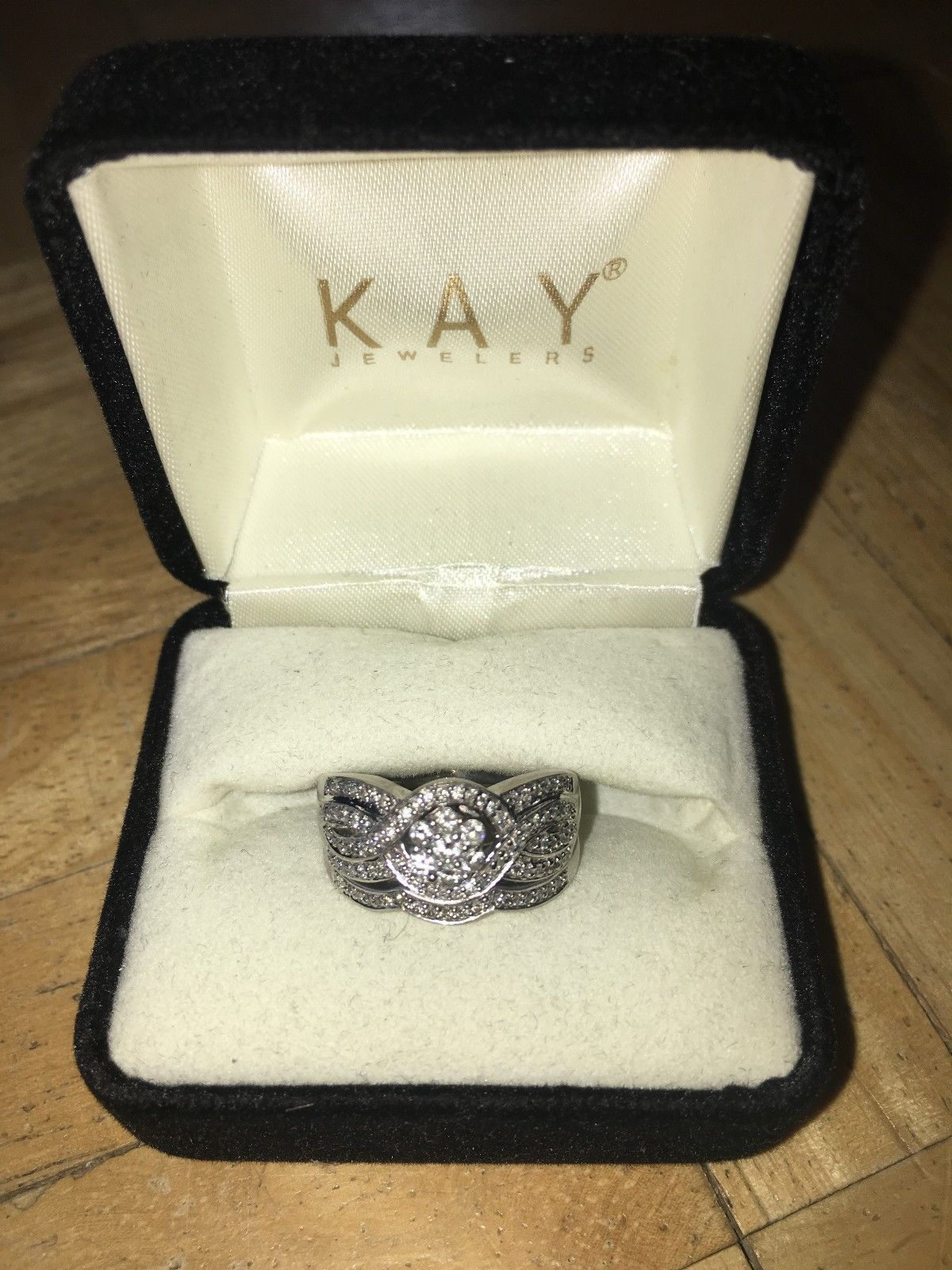 KAY Jewelers Bridal Set Engagement Wedding Ring 10K White Gold