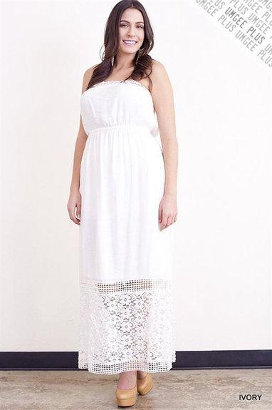 $44.95 Plus Size Maxi Dress Ivory Lace - Kelly Brett Boutique