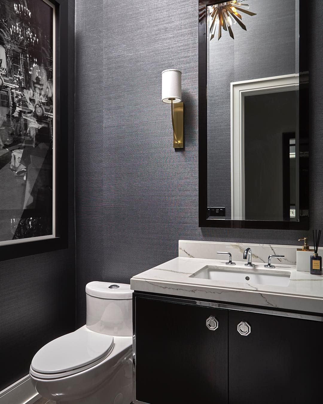 Robyn Clarke Co On Instagram Mixing Metals The Brass Light Fixtures Make A Statement In This Bathroom Light Fixtures Brass Light Fixture Black Powder Room