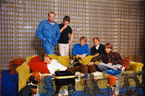 The Beach Boys, and Banana, at Brian's home in Bel Air, 1966