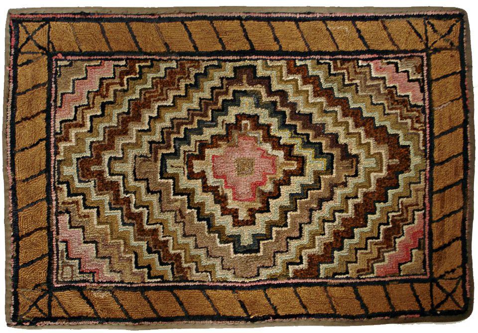 American Hooked Rugs 19th Century Rug Very Nice Small Handmade