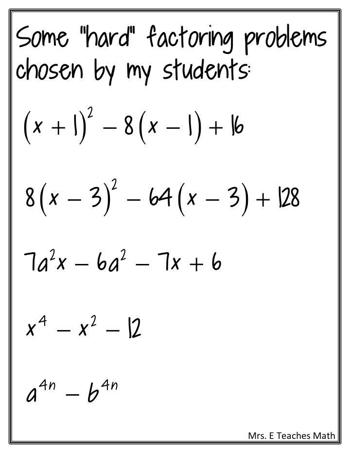 Factoring practice teaching math word problems maths