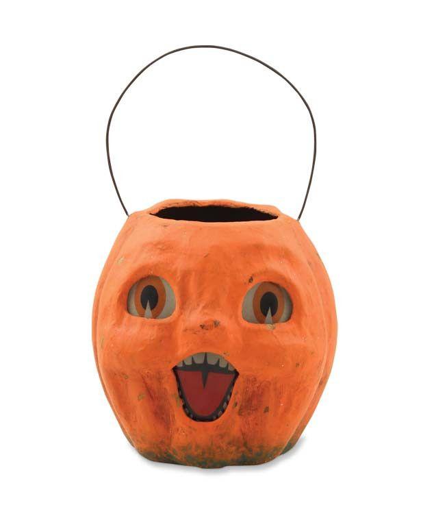 Vintage Pumpkin Bucket Paper Mache Halloween Collectables Bethany Lowe Halloween Vintage Halloween