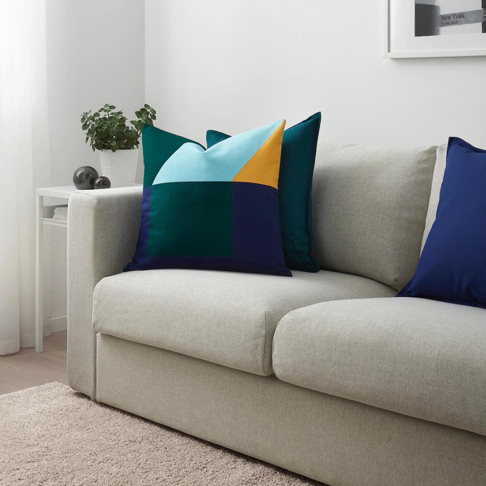 "MAJALISA Cushion cover blue, green/yellow 20x20 "" in"