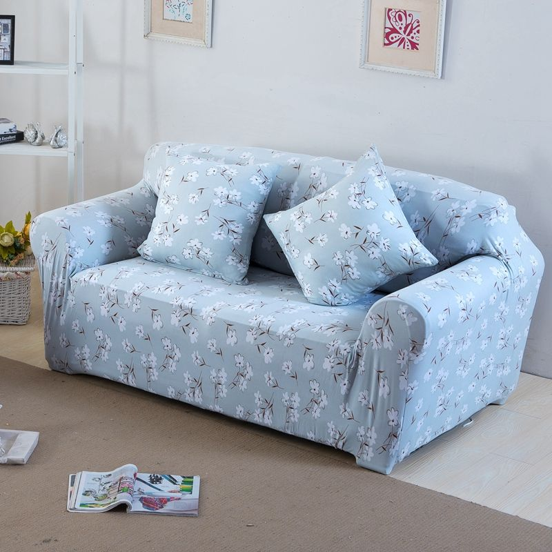 Light Blue Flowers Print Stretch Sofa Cover For 4 Seasons 100 Polyester Anti Slip Corner Sofa Cover For Living Room Multi Size Kitchen Dining Bar Corne