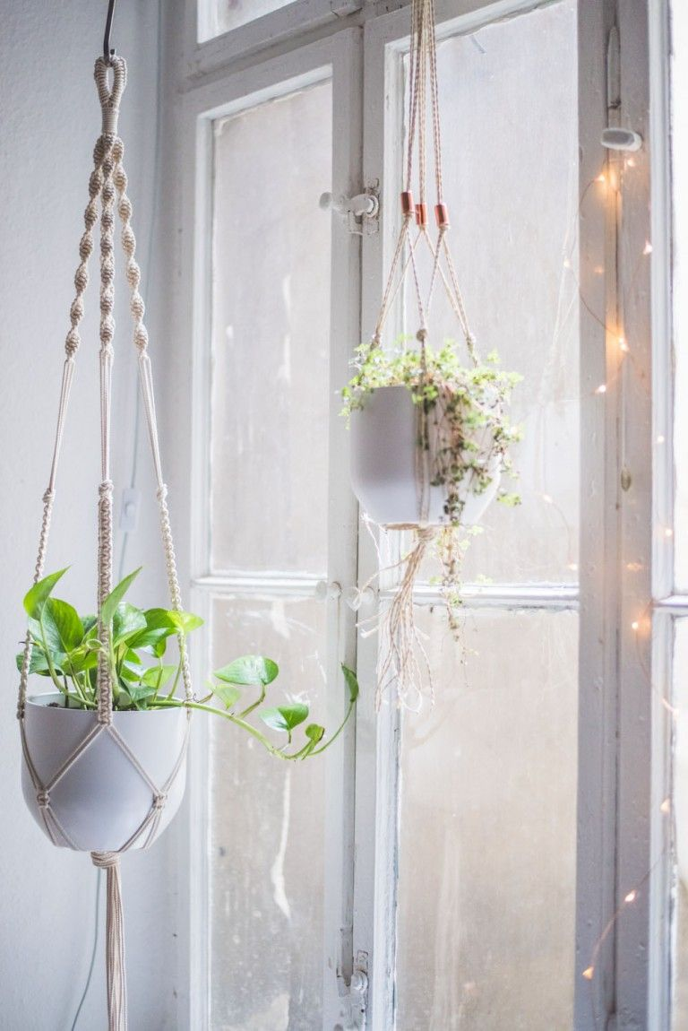 easy home diy macrame plant hanger tutorial if i had a garden pinterest makramee. Black Bedroom Furniture Sets. Home Design Ideas