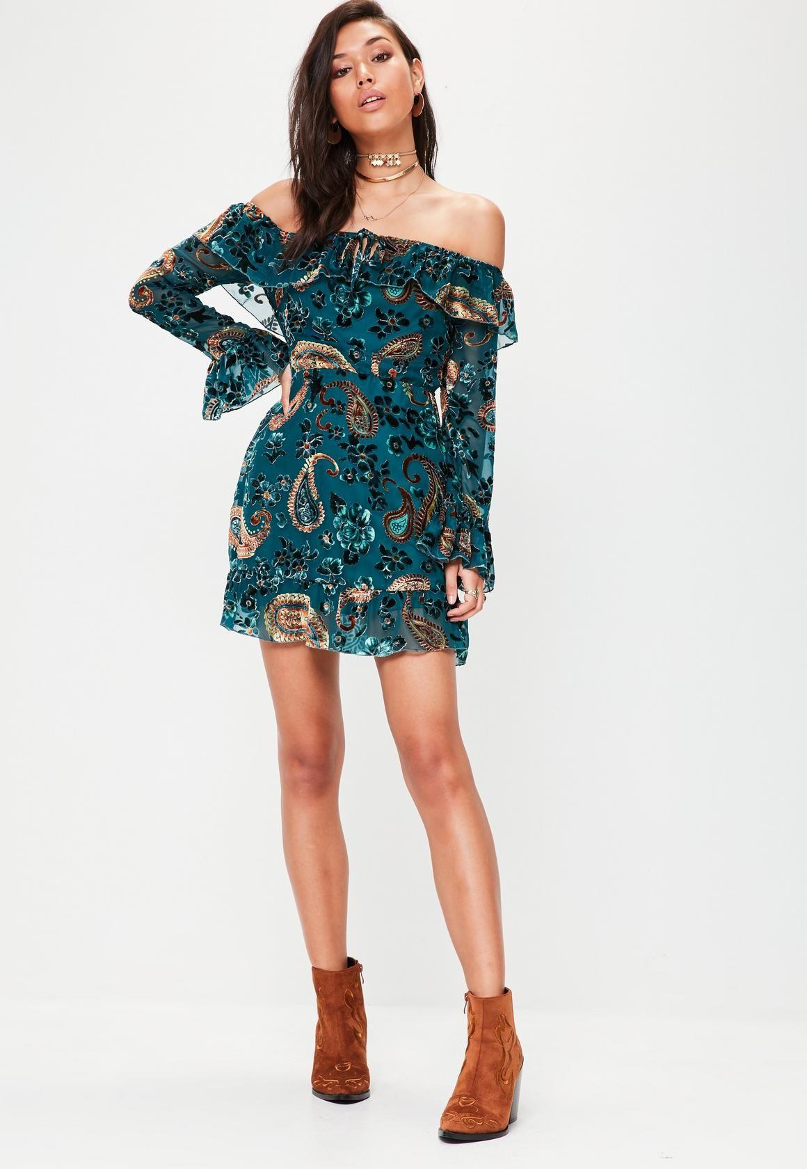 26f46eb32427 Green Velvet Devore Bardot Frill Dress