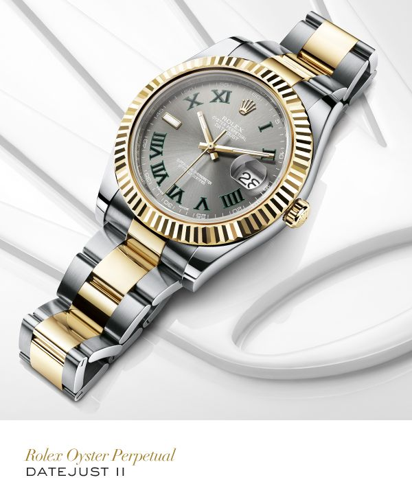 Rolex Datejust II 41 mm in Rolesor with a fluted bezel, slate dial and Oyster bracelet. #Wimbledon #Tennis #RolexOfficial #rolexdatejust