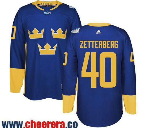 5317b6c96 Men s Team Sweden  40 Henrik Zetterberg adidas Blue 2016 World Cup of  Hockey Custom Player Stitched Jersey
