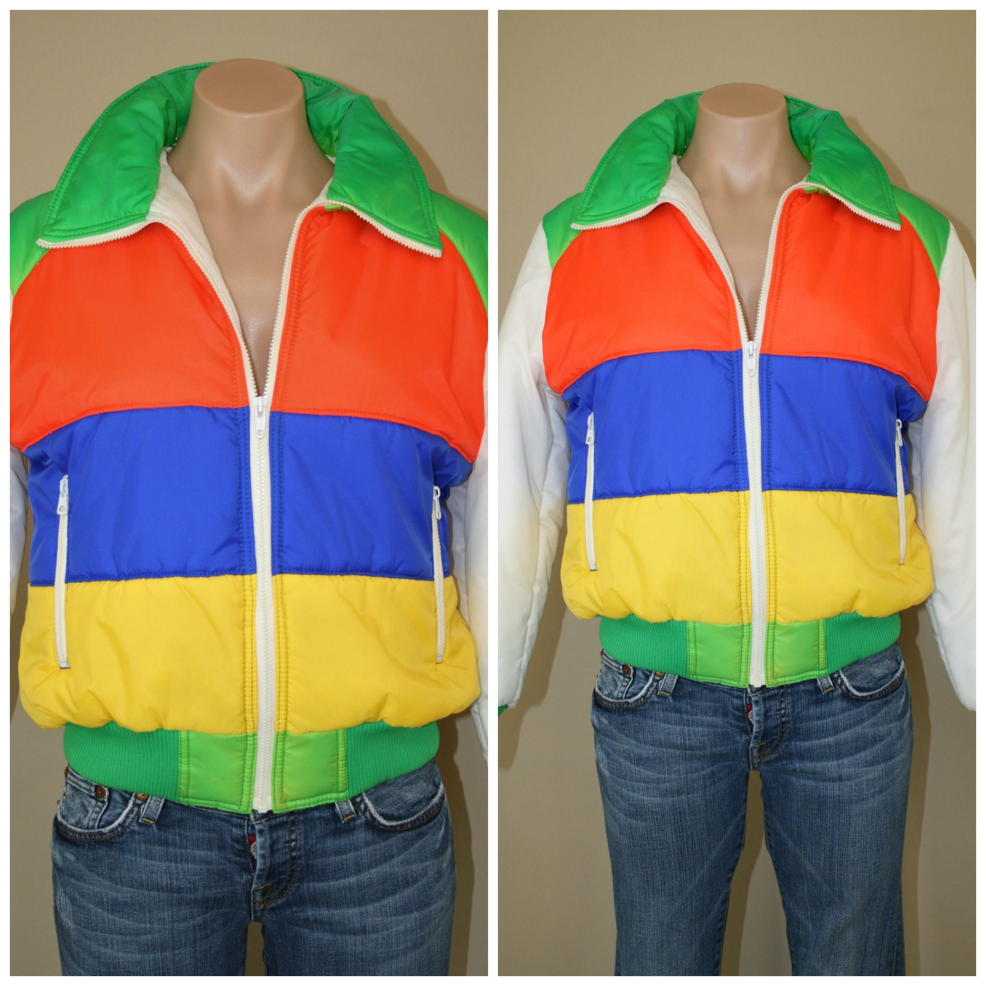 70s Vintage Retro Color Block Rainbow Ski Puffer Bomber Jacket Etsy Retro Color Retro Vintage Retro