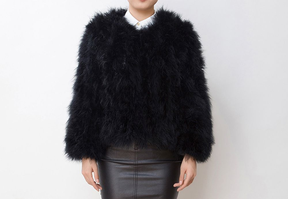 67a55129684d Shop the Fluffy Fur Fever Jacket Classic Black at Pellobello. Real ostrich  fur feather jacket. This is the original!