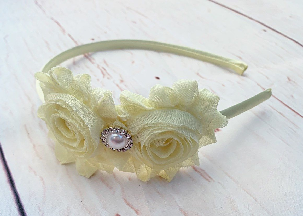 Pale Yellow Flower Headband Baptism Headband Wedding Headband Easter Headband Light Yellow Shabby Chic Flower Flower Girl Headband Yellow Flower Headband Flower Girl Headbands Wedding Headband