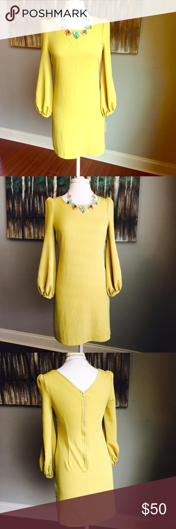 Asos flowy long sleeve yellow dress