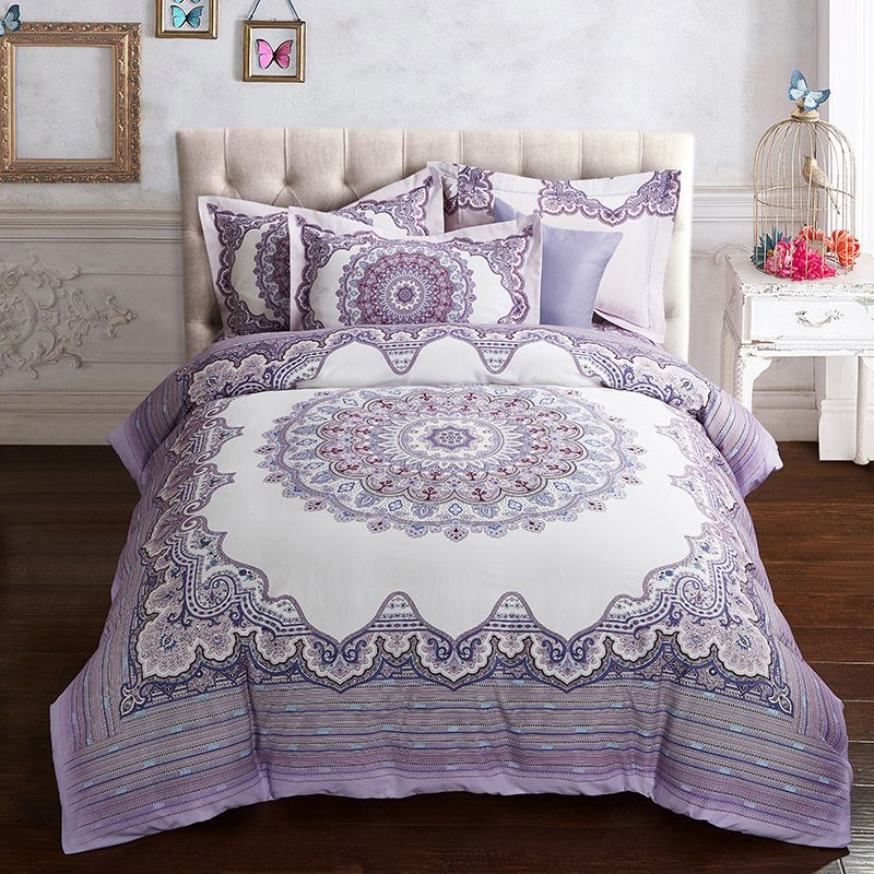 Home Staging Purple Blue Luxury Boho Bedding Set Queen King Size Thick Cotton Fabric Winter Bed Linen Pillowcases Duvet Quilt Cover Find Out More