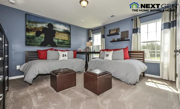 This bedroom is a touchdown for football fans! Next Gen plans by Lennar Charlotte feature a beautiful main home and a separate, private suite for family or long-term guests!