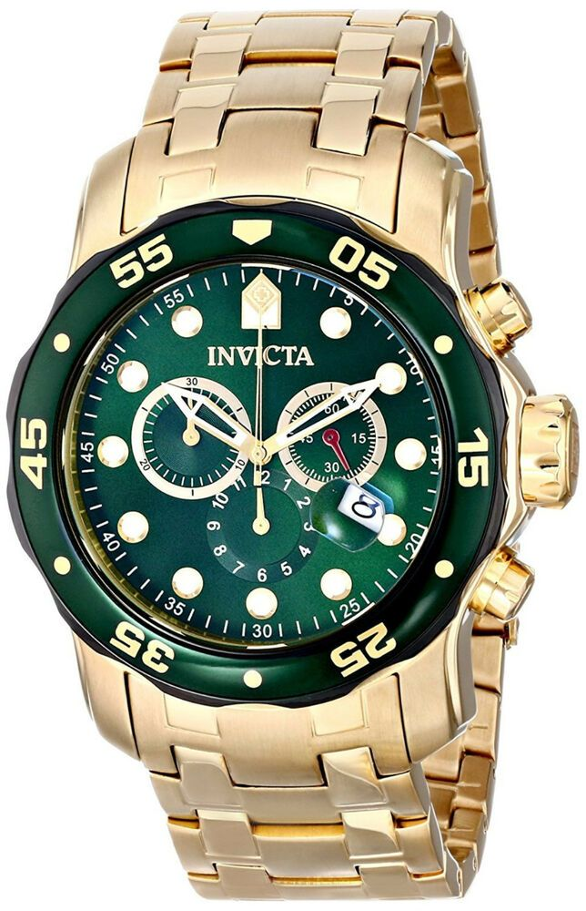 Reloj Invicta Green Face Crystal Gold Steel Case Bracelet Man Watch Hombre  Hand  Invicta 28f773c32cd