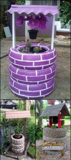 Make A Wish In Your Own Garden With This Wishing Well Planter Made From  Recycled Tires! It Makes A Great Garden Decor And Itu0027s So Easy To Make    You Can ...