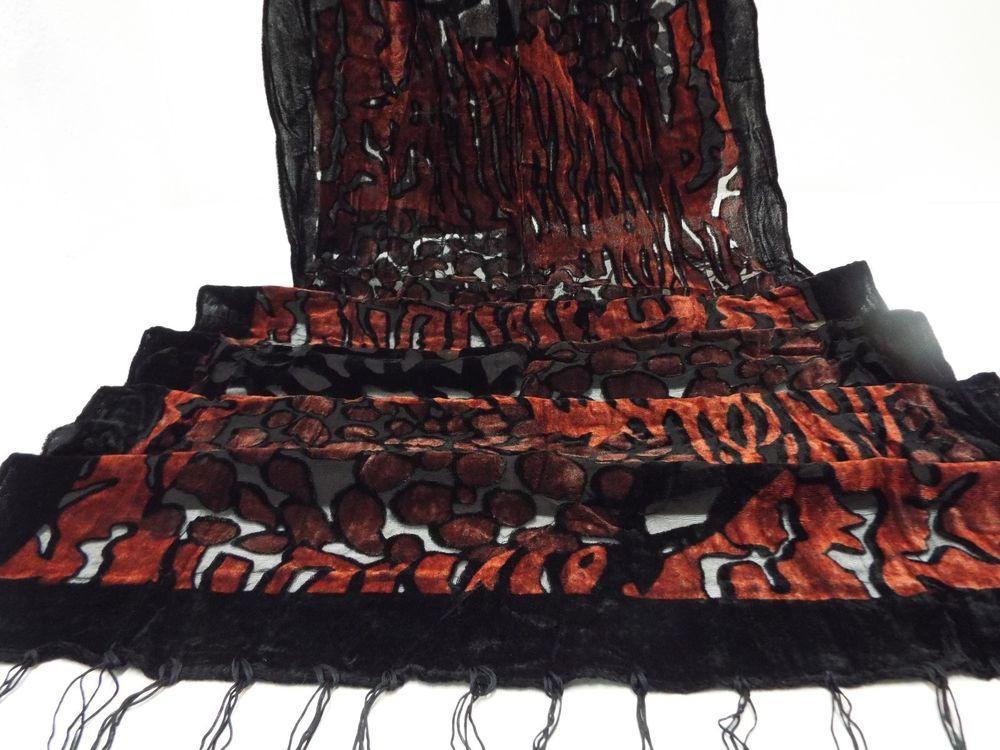 "Shawl Wrap Scarf  Burnout Deep Brick Red 62"" Animal Print Design #NotBranded #ShawlWrap62Inches #All"