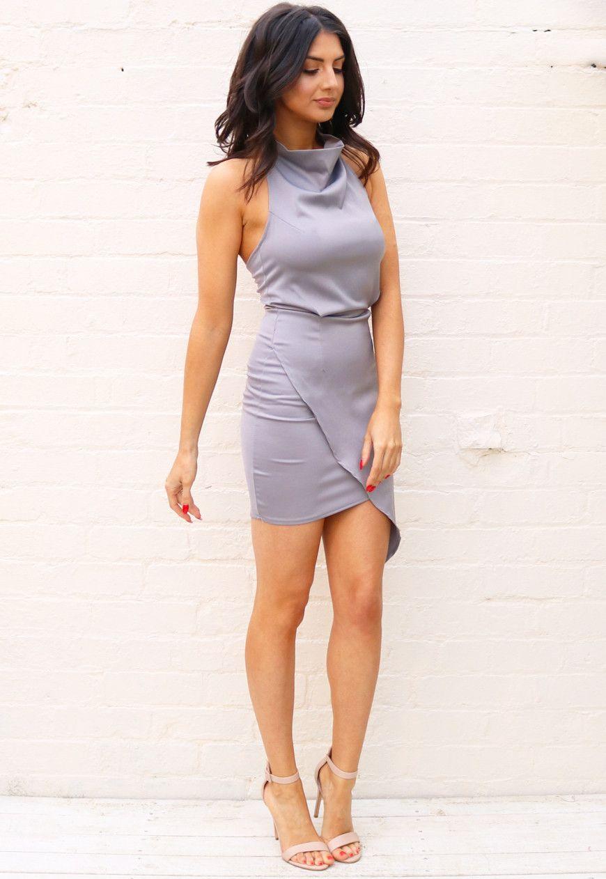 Halter Cowl Neck Asymmetric Wrap Over Skirt Satin Mini Dress In Grey Mini Slip Dress Satin Mini Dress Dresses [ 1262 x 870 Pixel ]