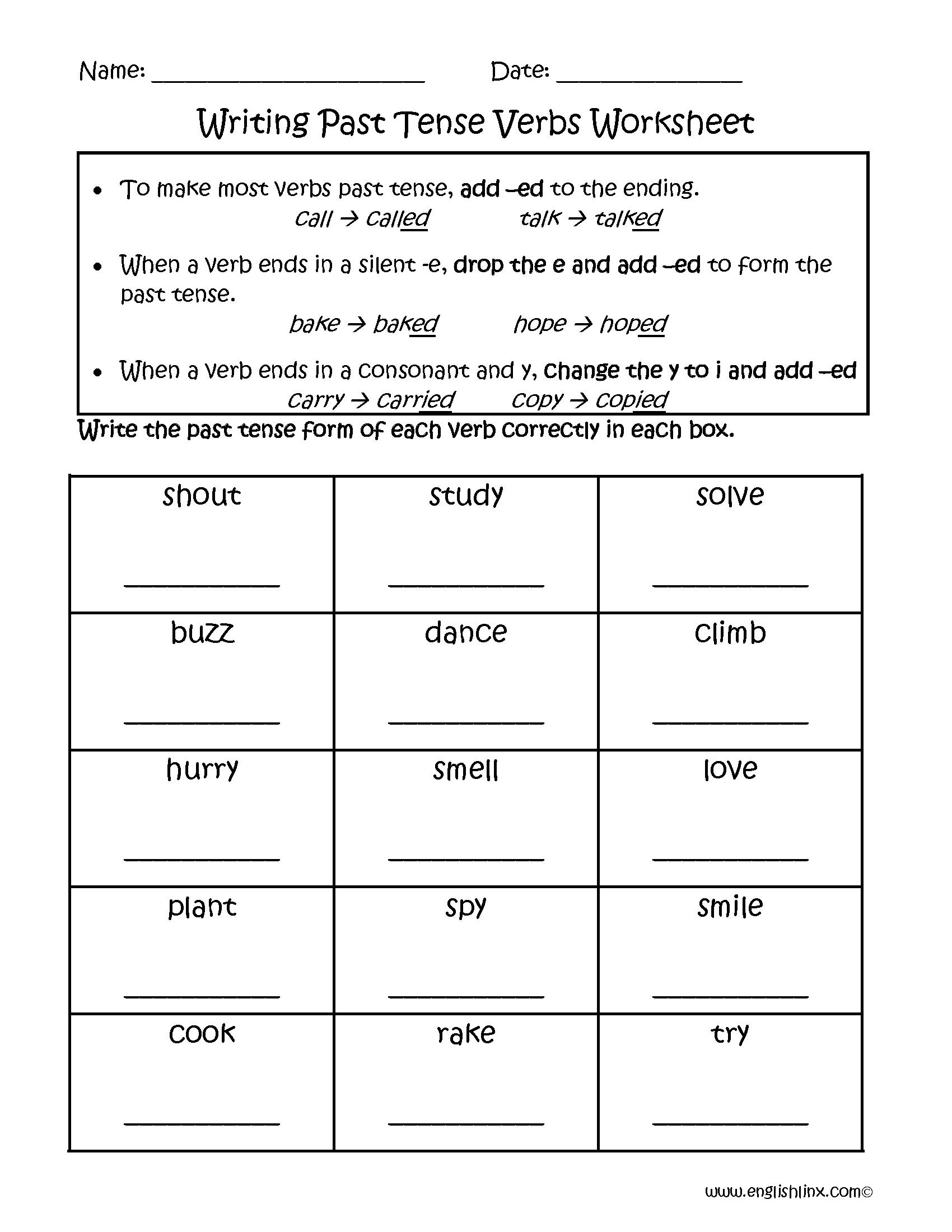Writing Past Tense Verbs Worksheets   Verb worksheets [ 2200 x 1700 Pixel ]