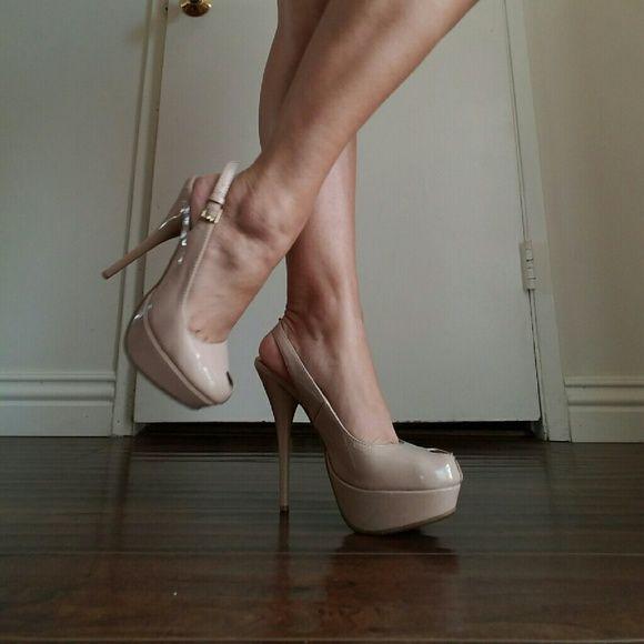 Tan peekaboo heels Heels,  worn a few times... bamboo  Shoes Heels